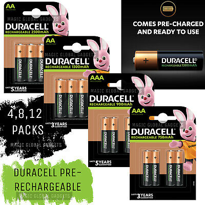Genuine Duracell Rechargeable Batteries Pre-Charged Duralock Aaa Or  Aa
