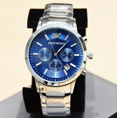 New Genuine Emporio Armani Mens Ar2448 Watch Blue Dial Stainless Steel £319 Rrp