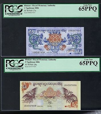 Bhutan 2 Notes 1-5  Ngultrum 2006 P27a-28a Uncirculated Grade 65