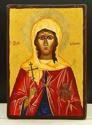 Vintage 20th Russian Hand Painted Wood Orthodox Icon