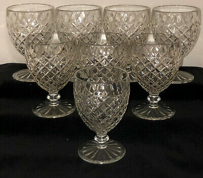 """4 Hocking WATERFORD/WAFFLE CRYSTAL *5 1/4"""" WATER GOBLETS*"""