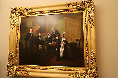 Antique oil on canvas large Emma Brownlow King painting taking leave