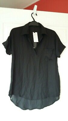 Zanzea Women Short Sleeve Blouse Chiffon Top V Neck Office Work Shirt Black UK12