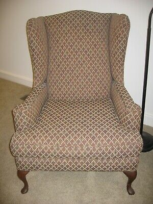 Queen Anne fabric wing back chair, seldom used, recovered great fabric, ex. cond