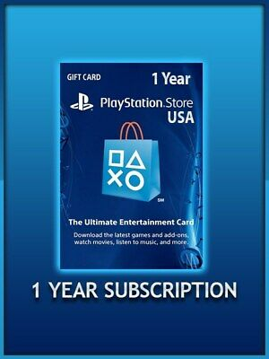 1 Year / 12 Month Sony PlayStation Plus- PSN 365 days Subscription for PS3/4 USA