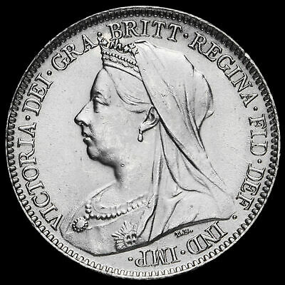1901 Queen Victoria Veiled Head Silver Sixpence, Uncirculated
