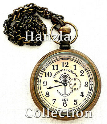 Antique Brass Nautical Victoria London Pocket Watch Maritime Chain Pandent Clock