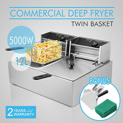 Stainless Steel Commercial Electric Deep Fryers Twin Fat Chip Fryer Double Tank