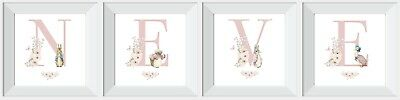 Personalised Peter Rabbit girl baby child print picture gift nursery walldecor