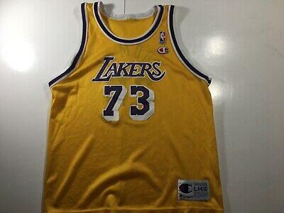 91e97bd7a13 Vintage 90s Champion Dennis Rodman Los Angeles Lakers Youth Large Gold  Jersey