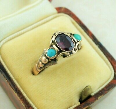 Antique Late Georgian Gold Ring Set with Garnet & Turquoise