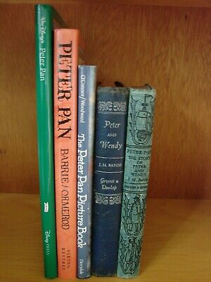 Lot of 5 Peter Pan Books  Antique to Modern Illustrated