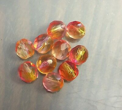 Vintage Czech Pink Orange Yellow Clear Base Tonal Multi Faceted Glass Bead Lot