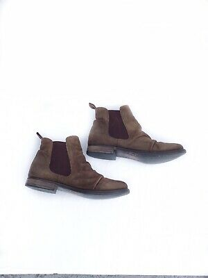 198a9786836 Steve Madden Brown Oiled Leather Ruched Chelsea Boots Women s 7.5 Ankle  Booties