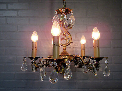 "Vintage Antique Italian Design Spanish Brass Five Light Chandelier 30.5"" L"