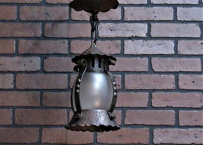 Vintage Antique Porch Light Fixture Mission Craftsman Bungalow Hand Hammered