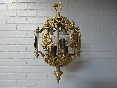 "Vintage Antique Spanish Brass Chandelier 6 Light High Quality Rewired 38"" L"