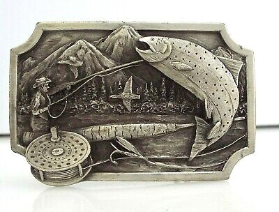 Siskiyou Buckle Company - Fly Fishing - Pewter - Vintage 1983 ~#1379