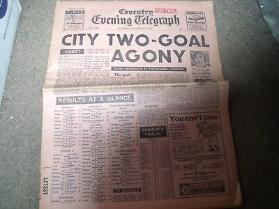 Vintage Football Newspaper Coventry Evening Telegraph @ Derby County 9 Dec 1972
