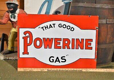 """""""THAT GOOD POWERINE GAS"""" Sign Double Sided Porcelain! 1930's Great Color 28""""x20"""""""