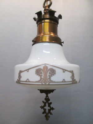 "Vintage Antique Art Deco Fleur De Lis Ceiling Light Fixture Gothic Moorish 41"" L"