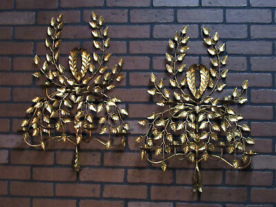 "Large Pair Vintage Antique Italian Gold Gilt Wall Sconces 6 Candle 27.5"" by 18"""