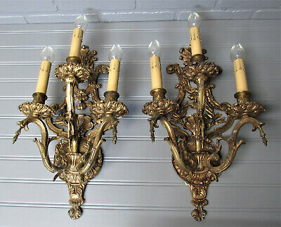 "Huge Pair Vintage Antique Spanish Brass Three Arm Wall Sconces 17"" Tall"