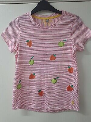 Joules Girls Fruit Stripe Pink Short Sleeve Summer Top T Shirt Size Age 11 12