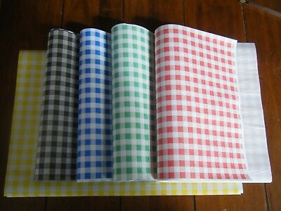 50 Quality Gingham Duplex Food Wrap Paper Greaseproof/Wax Chip Basket Liners