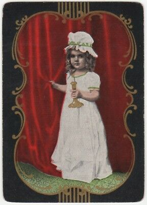 Playing Cards Single Swap Card Antique US Wide GOODNIGHT GIRL Nightgown Candle 2