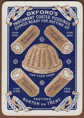 Playing Cards 1 Single Swap Card Old Antique Wide OXFORD'S PUDDINGS Advertising