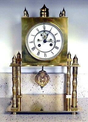 A SOLID BRASS Mantle Clock With An EXTERNAL ESCAPEMENT Made By S. Marti In 1875!