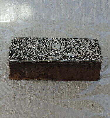 Edwardian Solid Silver and Leather Pin Box, Birmingham 1904
