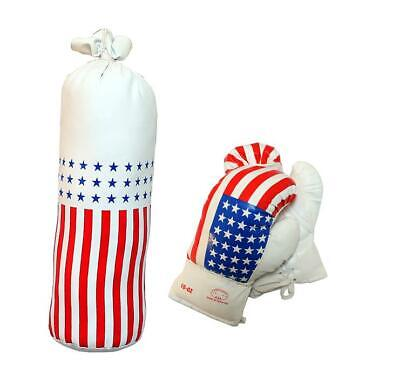 8oz Kids Boxing Set with Mini Heavy Bag, Gloves and USA Flag Punching Bag