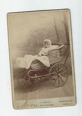Antique Cabinet Photo  1881 Baby In  Wicker Carriage  /Buggy #7
