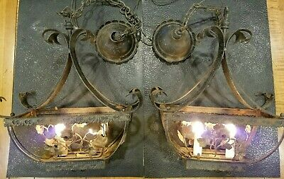 Pair Vtg Italy Halcolite Gothic Arts Wrought Iron Tole? Floral Chandelier Light