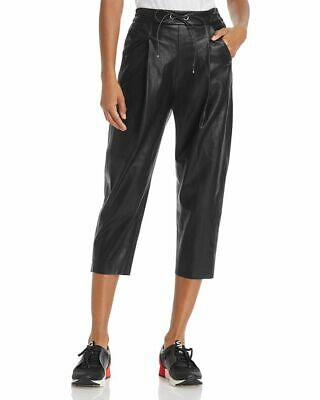 e78d687f Molly Bracken Faux Leather Track Pants NWT L $98 cropped Bloomingdales box  pleat