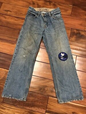 Boys Gap Kids Original fit Jeans Blue distressed and patched by design Sz 7