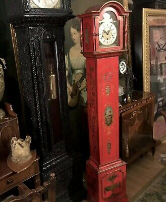 John Warmink Red Lacquer Triple Train Grandmother Clock Twin Tune on Rods