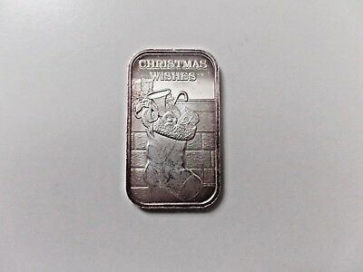 2000 Christmas Wishes 1 Ounce .999 Fine Silver Bar