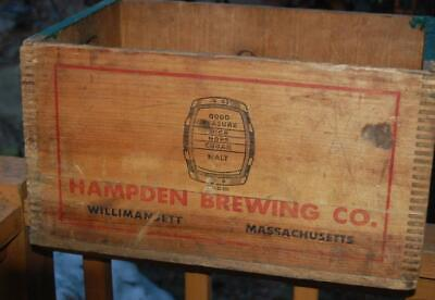 Vintage Wood Advertising Beer Crate Box  Hampden Brewing  Co Ale Willimansett Ma