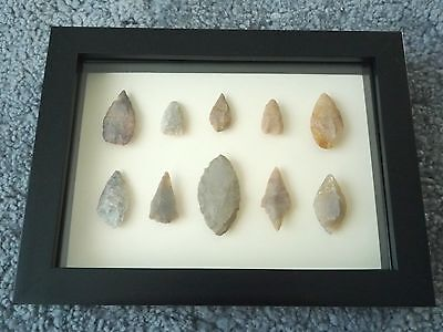 Neolithic Arrowheads in 3D Picture Frame, Authentic Artifacts 4000BC (0427)