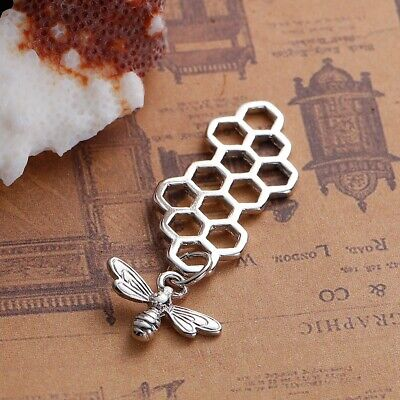 Dangle Bee with Beehive Connectors Charms, Silver/Gold, 46mm, 2 - 5  Pieces