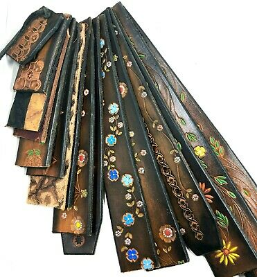 15+ Vintage 1970 Tooled Leather Scrap Straps Flowers for Cuffs Earrings Belts