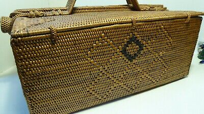 Fantastic Polynesian Pacific Island Woven Basket Carry Case Antique Vintage Box