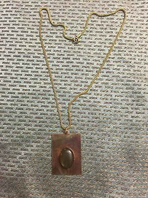 Vintage Patina Copper Tag w Oval Glass Mood Stone Brass Mesh Chain Necklace