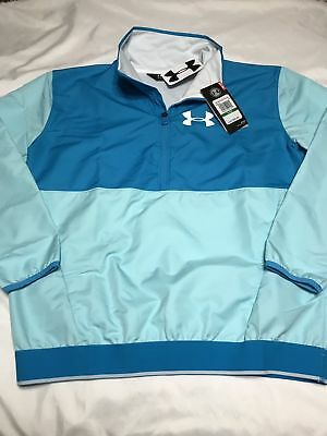 NWT Girls Under Armour Green Half Zip Windbreaker With Pockets $50 MSRP Sz YLG