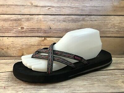 71b34fcd0841 TEVA MUSH sz 9 OLOWAHU Multicolor Strappy Thong Sandals Flip Flops Shoes SN  6840