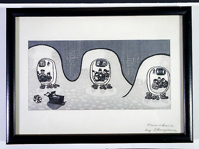 "Scarce Japanese Woodblock Print by GIHACHIRO OKUYAMA ""Kamakura-Igloo"""