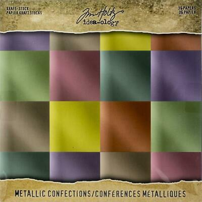 Tim Holtz Idea-Ology Surfaces - Kraft Stock 8x8 - Metallic Confections - 36 S...